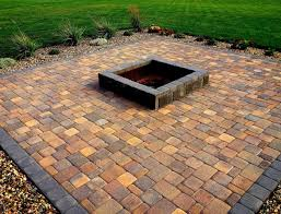 patio pavers with fire pit. Fire Pit, Paver Patios With Pit Center Squared Stone Tiles Black Charcoals Colourful Gravels Patio Pavers