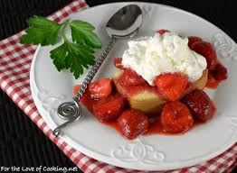 Strawberry Topped Pound Cake With Lemon Whipped Cream For The Love