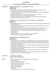 Professional Sales Representative Resume Samples Velvet Jobs