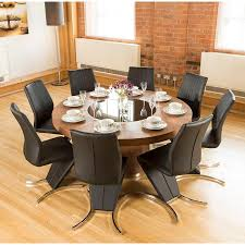 Round Kitchen Table For 8 Luxury Large Round Walnut Dining Table Lazy Susan Plus 8 Z Chairs