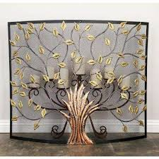 rustic 1 panel fireplace screen with tree and leaf cut outs