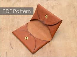Leather Templates Minimalist One Piece Cardholder Pattern Leather Etsy