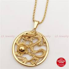ls jewelry stainless steel gold plated dragon necklace n0159