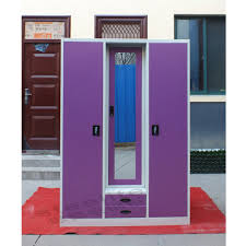 Locker Style Bedroom Furniture Large Bedroom 3 Door Steel Armoire Bedroom Furniture Wardrobe