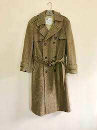 60s winter coat tweed coat mens coat belted heavy on down wool tweed cote des neiges 1960s brown size 38 mens vintage