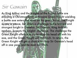 as king arthur and the knights of the round table are enjoying a feast a massive green knight wielding a battle axe enters the room on his green