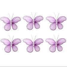 erfly decor 2 purple lavender mini x small glitter nylon erflies 6 piece decorations set decorate baby nursery bedroom girls room wall wedding