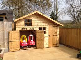 10 x 6 apex two story playhouse with garage and access door
