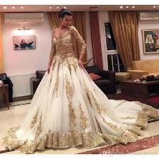gold wedding dresses ball gown long sleeve appliques elegant india