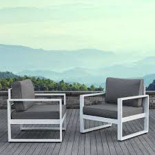white metal patio chairs. Baltic White 2 Piece Aluminum Patio Conversation Set With Gray Cushions Metal Chairs D