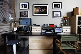 home office desk decorating ideas work. Magnificent Home Office Ideas Grey Interior Wall Accents With And Furniture Desk Decorating Work