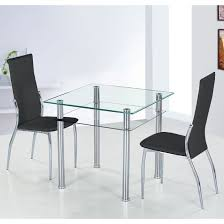 dining table with 2 chairs. como glass dining table with 2 black pisa chairs l
