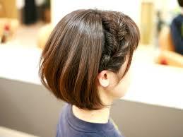 ボブショートヘアでも簡単サイドの編み込み風くるりんぱヘア