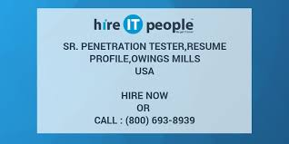 Sr. Penetration Tester,resume profile,Owings Mills - Hire IT People - We  get IT done