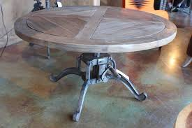42 round hand crank coffee table heavy cast iron legs