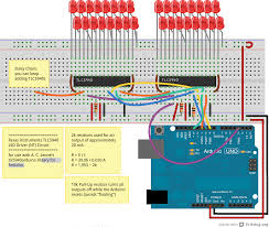 tutorials breadboard wiring of two daisy chained tlc5940 an array of leds