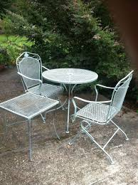 4 metal outdoor tables black metal patio chairs chair table white trees