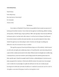 exercise science internship ii portfolio 14 internship essay heidi fahmy internship essay exercise