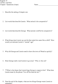 english of mice and men chapter questions pts list how would you estimate lennie s mental age 5 why did george and lennie
