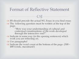 english literature hl sl ppt video online 6 format of reflective statement