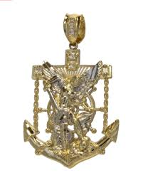 10k yellow gold religious st michael battle fighting the devil medallion pendant necklace