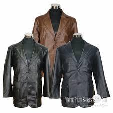 details about suit blazer leather jacket mens patch pocket cut lapel gents casual soft coat