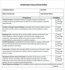 Oral Interview Evaluation Form Template Questions Free Product Word ...
