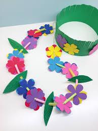 4 Petal Flower Paper Punch Craft For Kids Hawaiian Lei Grass Crown