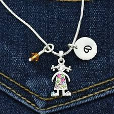 details about girl multi color personalized pendant letter birthstone charms custom necklace