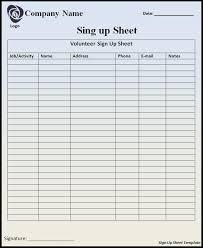 Printable Sign Up Sheets Templates Signup Sheet Template Free Printable Word Templates