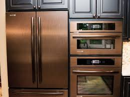 copper refrigerator, wall oven and wall microwave