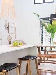 loft woven leather bar stool black