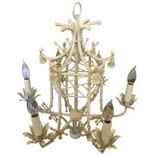 viyet designer furniture lighting asian decorative arts white faux bamboo chinese chippendale style tole paa chandelier