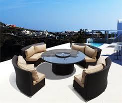 coastal collection cassandra round outdoor wicker dining sofa set patio furniture java cocoa