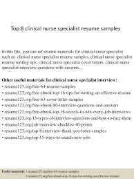 sample clinical nurse specialist resume top 8 clinical nurse specialist resume samples