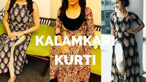 Kalamkari Churidar Neck Designs For Stitching Latest Kalamkari Kurti Patterns Stylish Kalamkari Kurti Designs