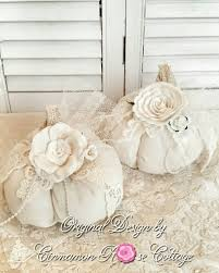 Set 2 Shabby Cottage Fabric Pumpkins Vintage Lace And Roses.