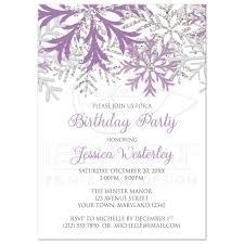 Snowflake Birthday Invitations Birthday Invitations Winter Snowflake Purple Silver