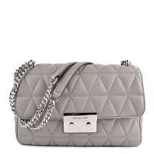 michael michael kors sloan large quilted leather shoulder bag in pearl grey handbags com