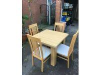 table with 4 chairs wood 6 seater