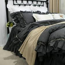 grey double ruffle bedding set lace design bedding bed set 100 cotton queen luxury duvet cover bed bedspread duvet flannel bedding from harriete
