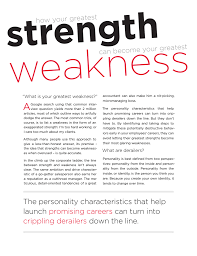 List Of Personal Strengths And Weaknesses The Personality Characteristics That Help Launch Promising Careers