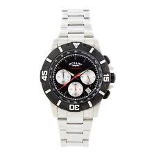 mens divers watches mens rotary chronospeed stainless steel black face divers watch gb03375 04