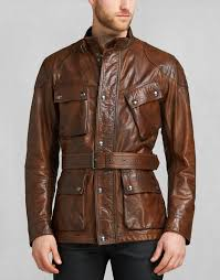belstaff the panther jacket in brown signature hand waxed leather larger image