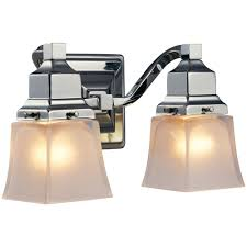 2 light chrome vanity light with etched glass shades
