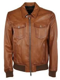 dsquared2 faded leather biker jacket brown