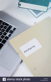 German Termination Letter Or Dismissal From Employment On A Desk