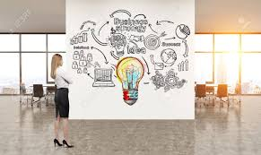 office graffiti wall. Side View Of Blond Woman Looking At Light Bulb And Business Icons Graffiti In New York Office Wall