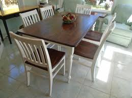 rustic farmhouse table brown stained top white painted
