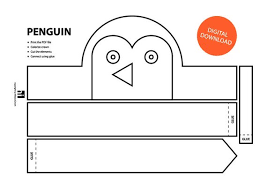 Crown Template Gorgeous Penguin Paper Crown Printable Coloring Crown Coloring Etsy